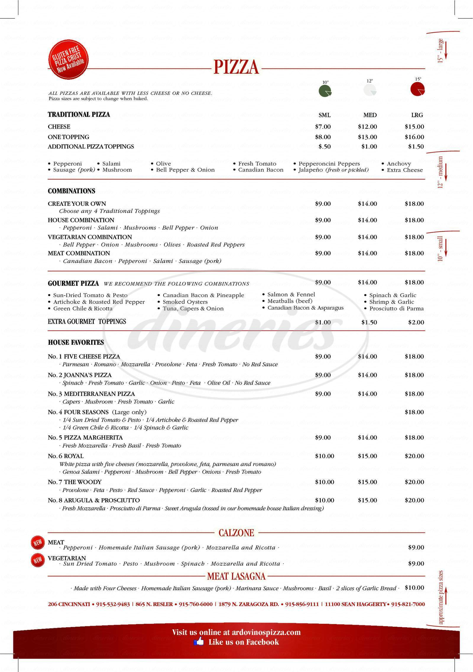 menu for Ardovino's Pizza