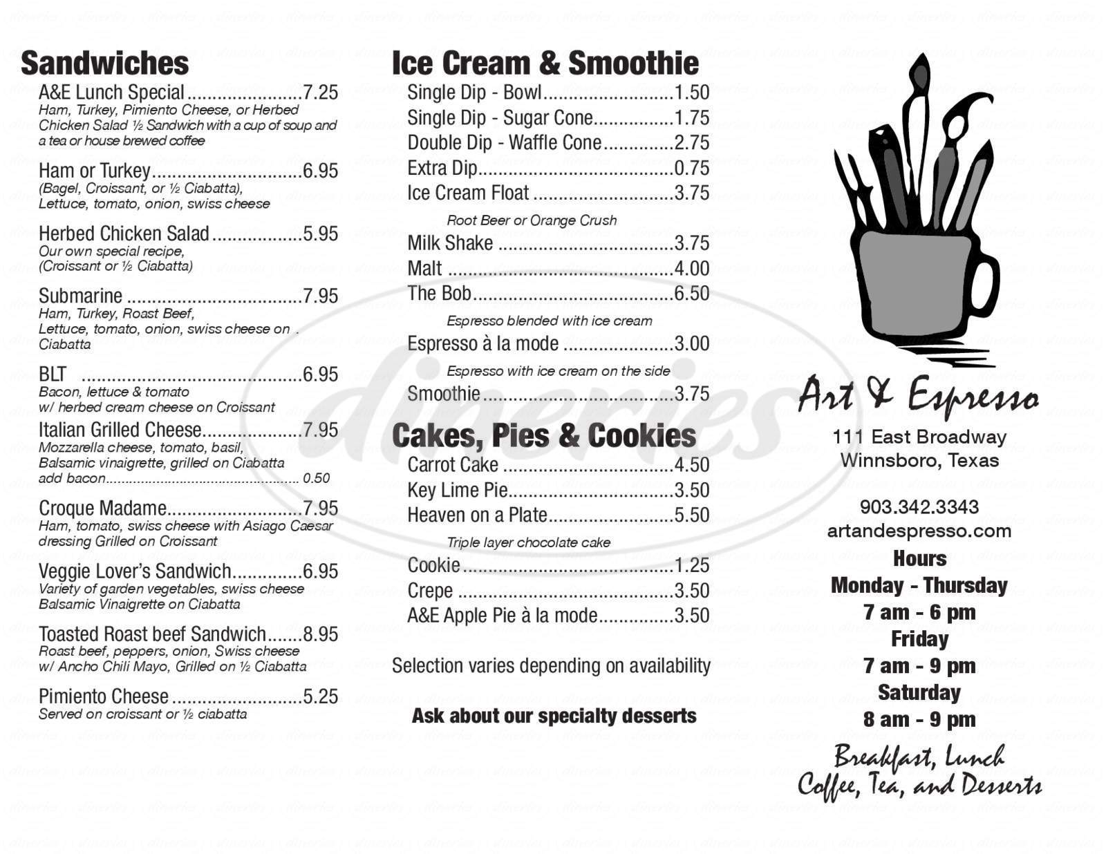 menu for Art & Espresso