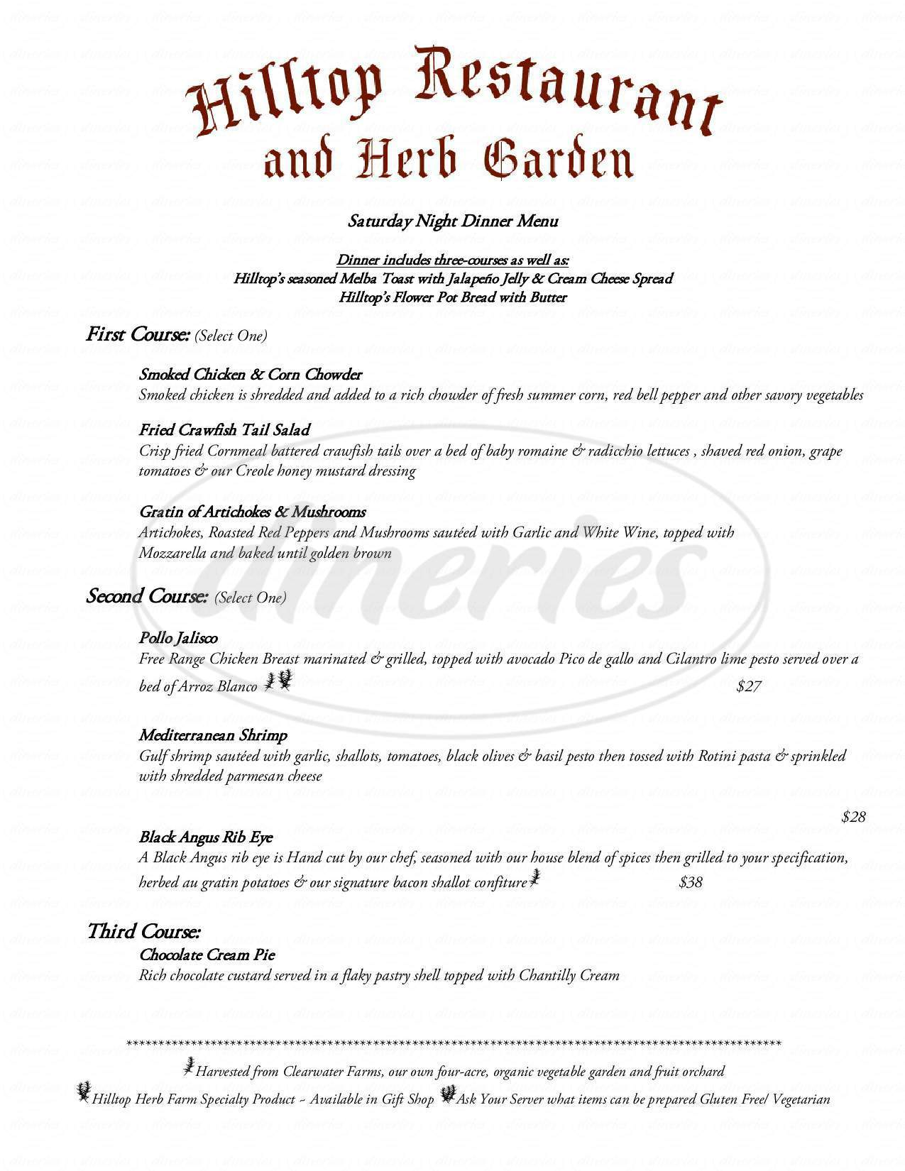 menu for Hilltop Restaurant and Herb Garden