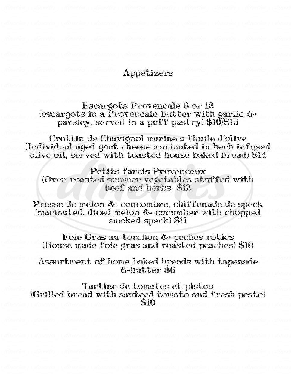 menu for Artisan Bistro Austin