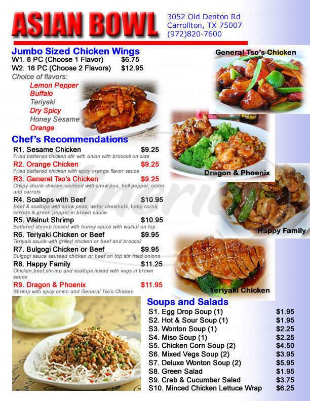menu for Asian Bowl