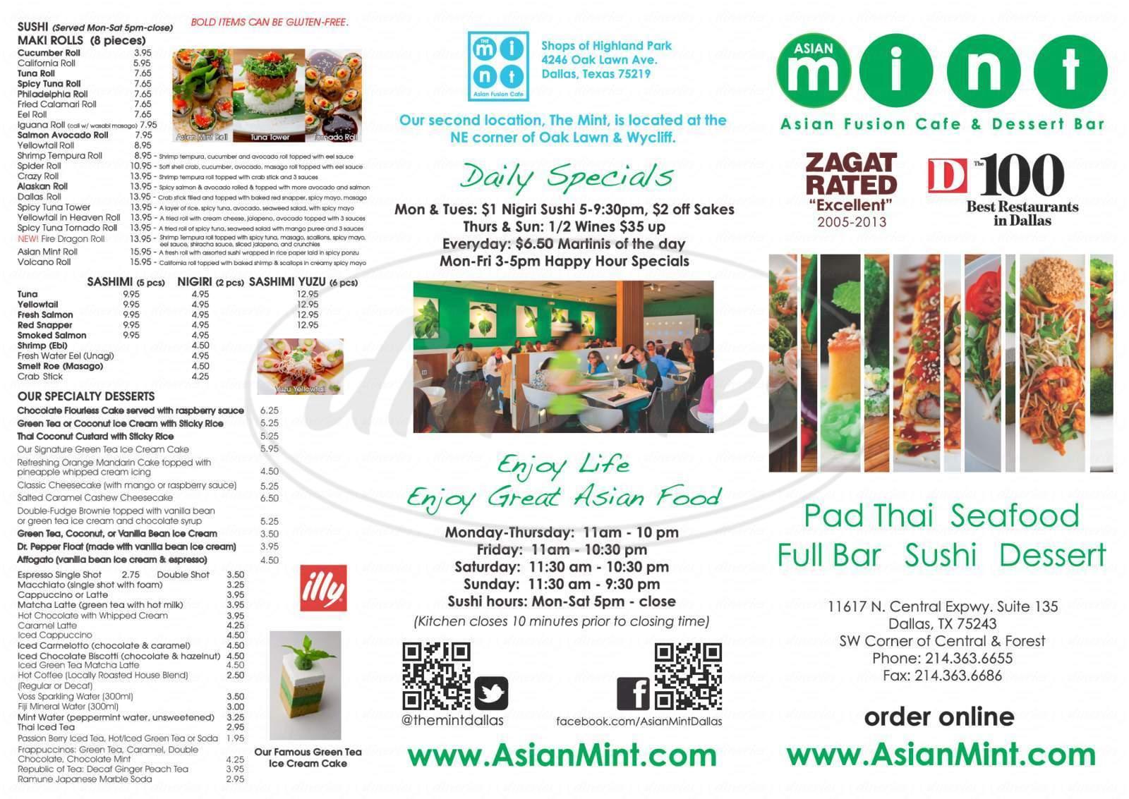 menu for Asian Mint