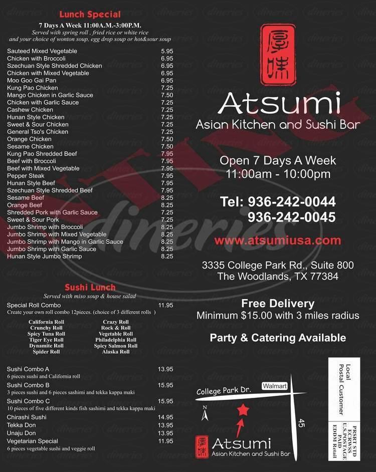 menu for Atsumi Asian Kitchen & Sushi Bar