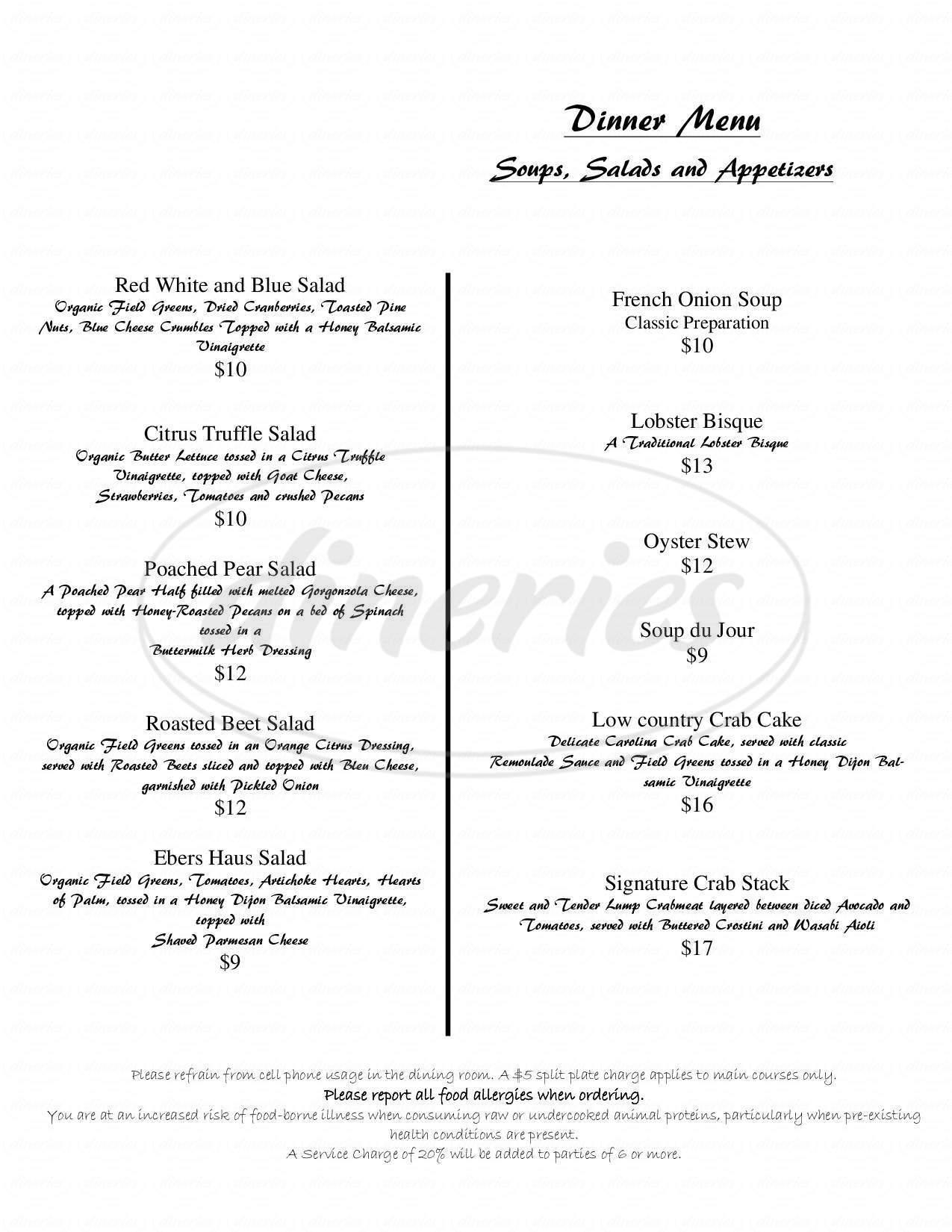 menu for August E's Nouvea Texas Cuisine