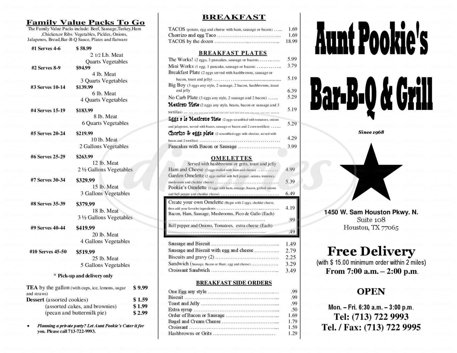 menu for Aunt Pookie's Barbeque