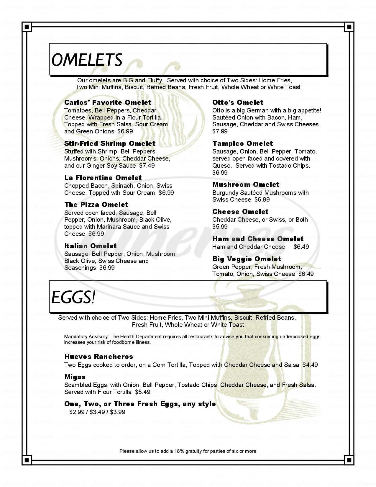 menu for Bakehouse