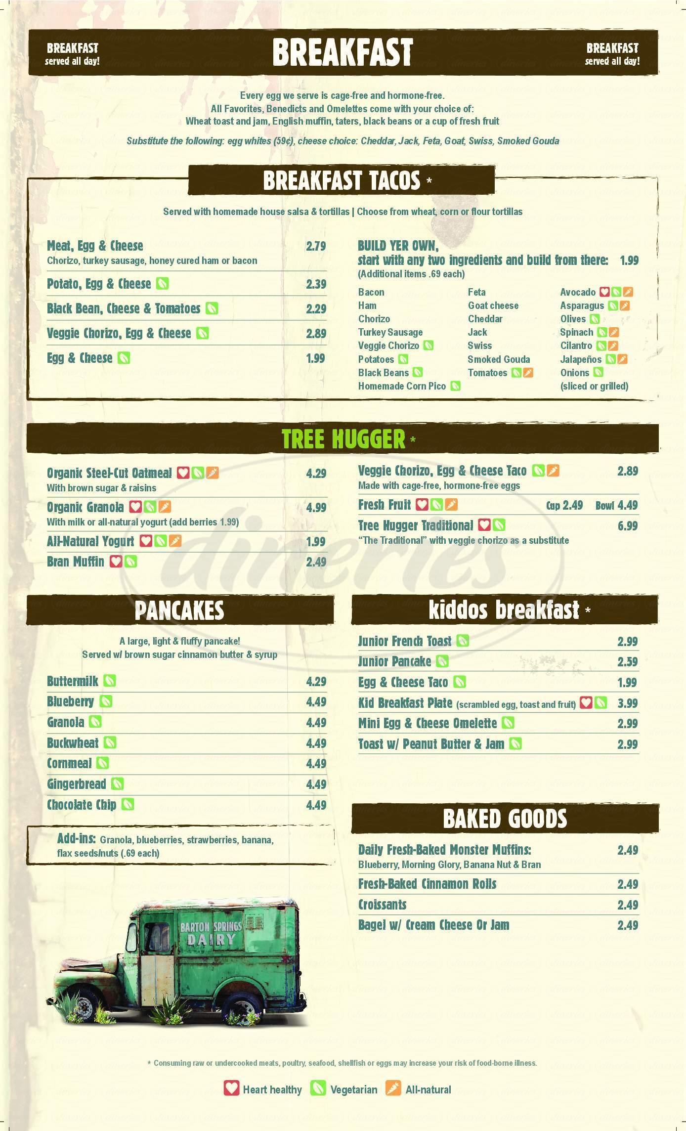 menu for Austin Java