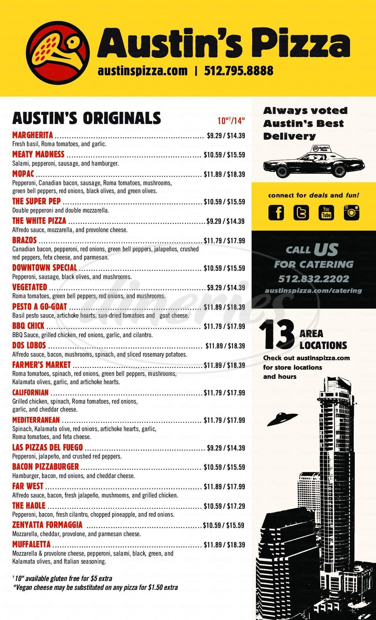 menu for Austin's Pizza