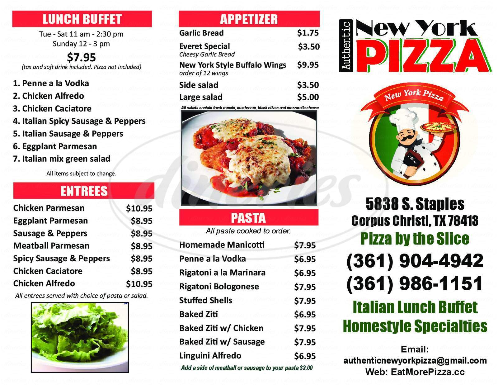menu for Authentic New York Pizza