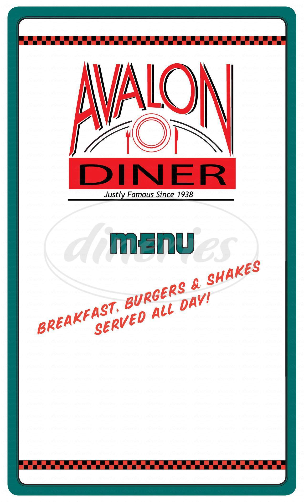 menu for Avalon Diner