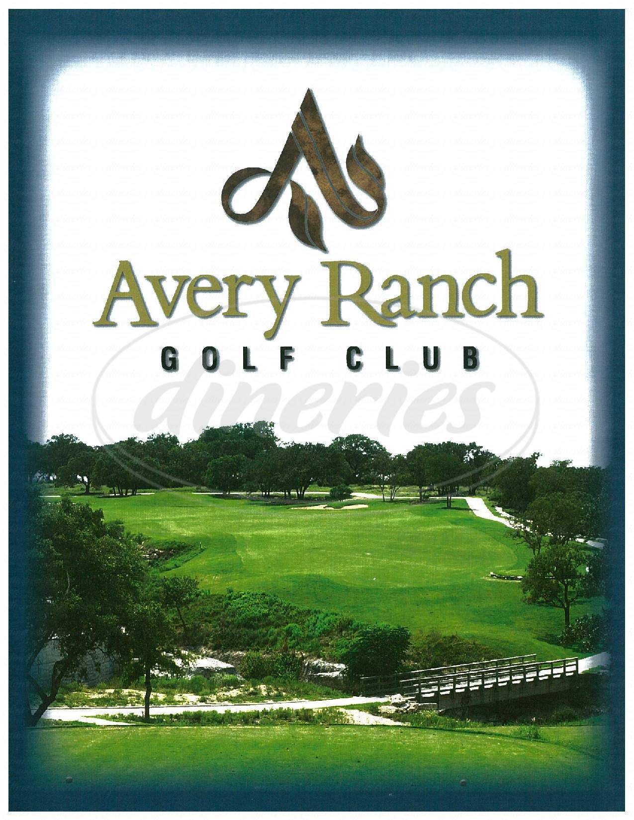 menu for Avery Ranch Golf Club House Sunset Bar & Grill