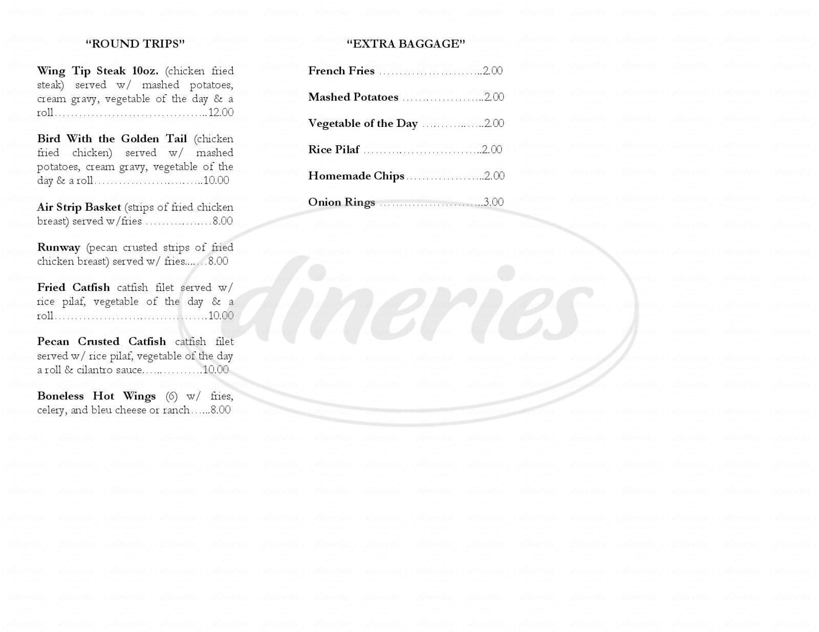 menu for Aviator's Grill