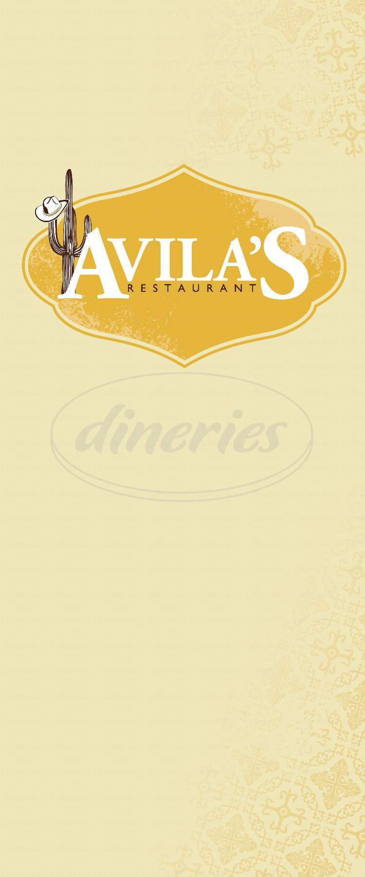 menu for Avilas Mexican Restaurant