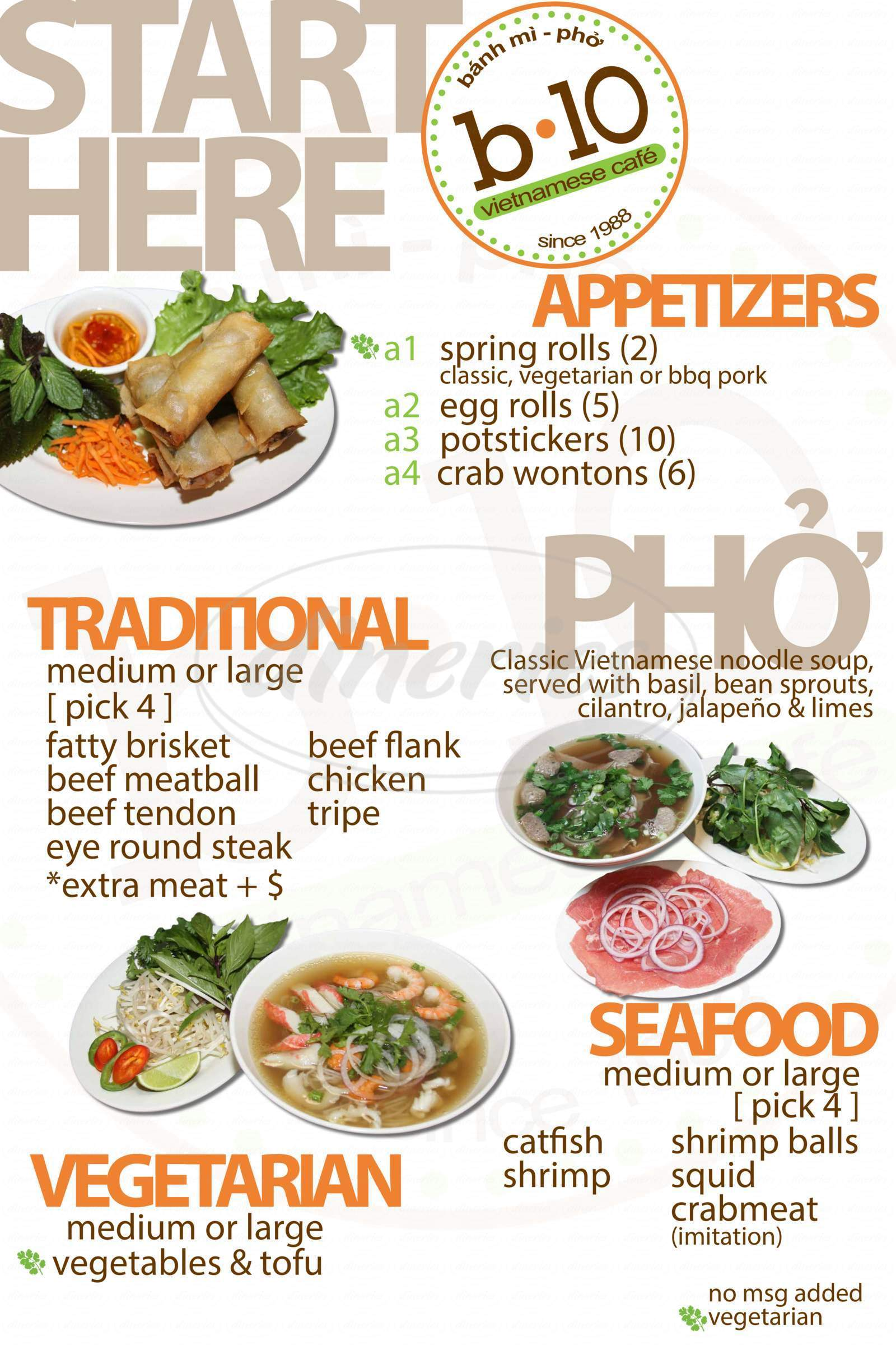 menu for B10 Vietnamese Cafe
