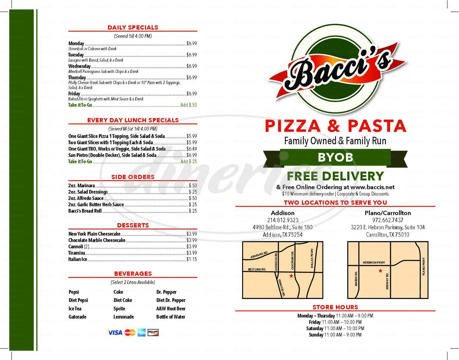 menu for Bacci's Pizza & Pasta
