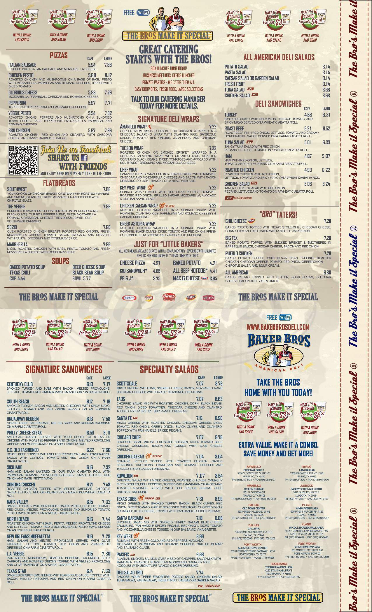 menu for Baker Bros American Deli