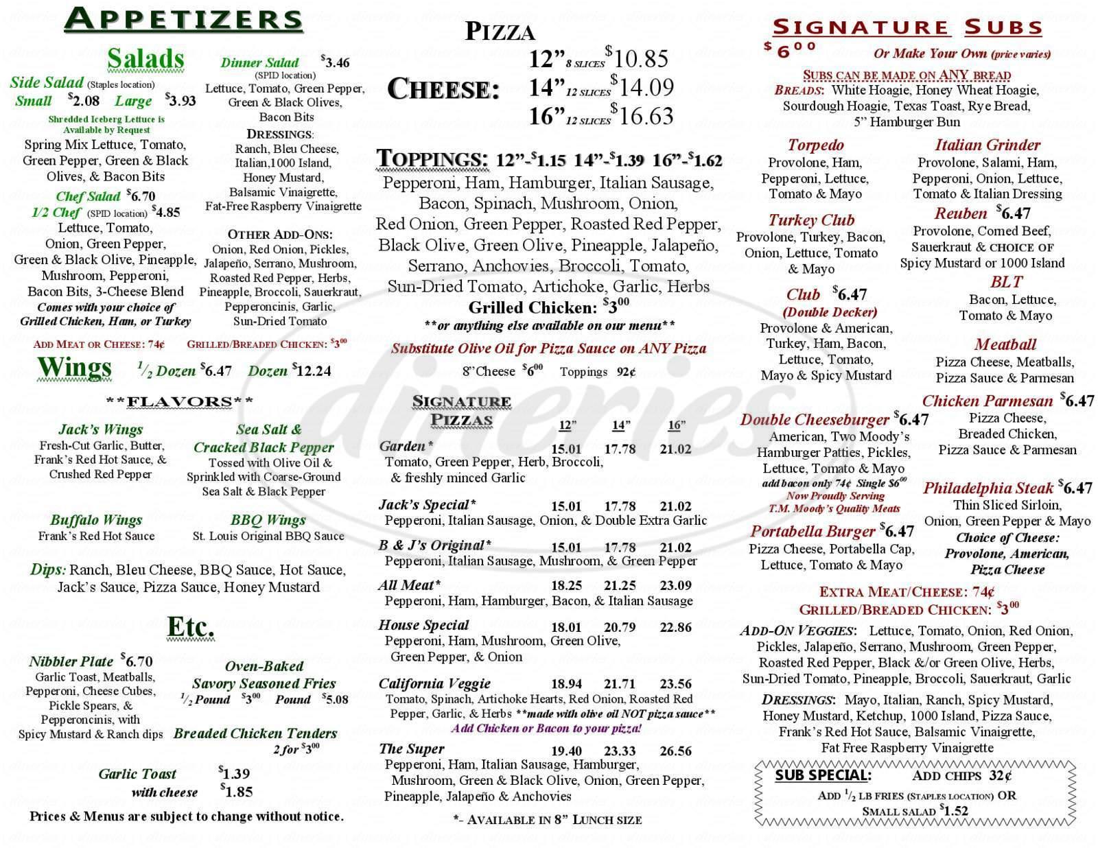menu for B & J's Pizza