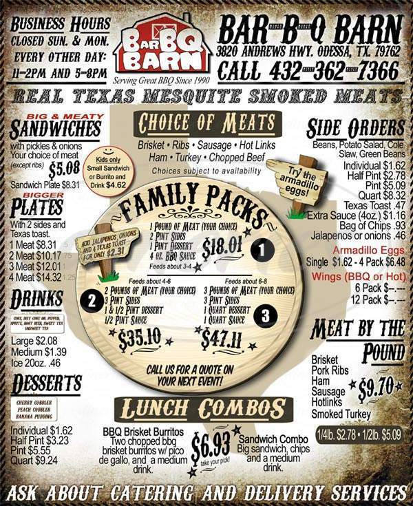 menu for Bar-B-Q Barn