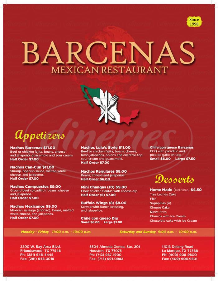 menu for Barcenas Mexican Restaurant