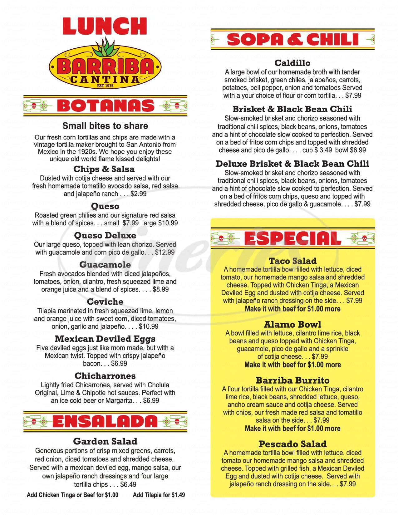 menu for Barriba Cantina