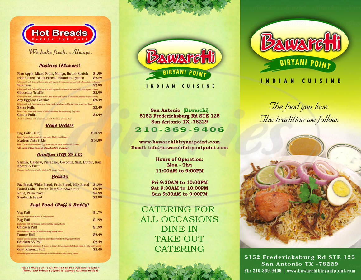 menu for Bawarchi Biryani Point