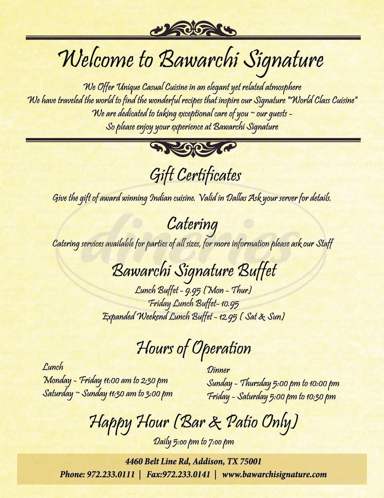 menu for Bawarchi Signature