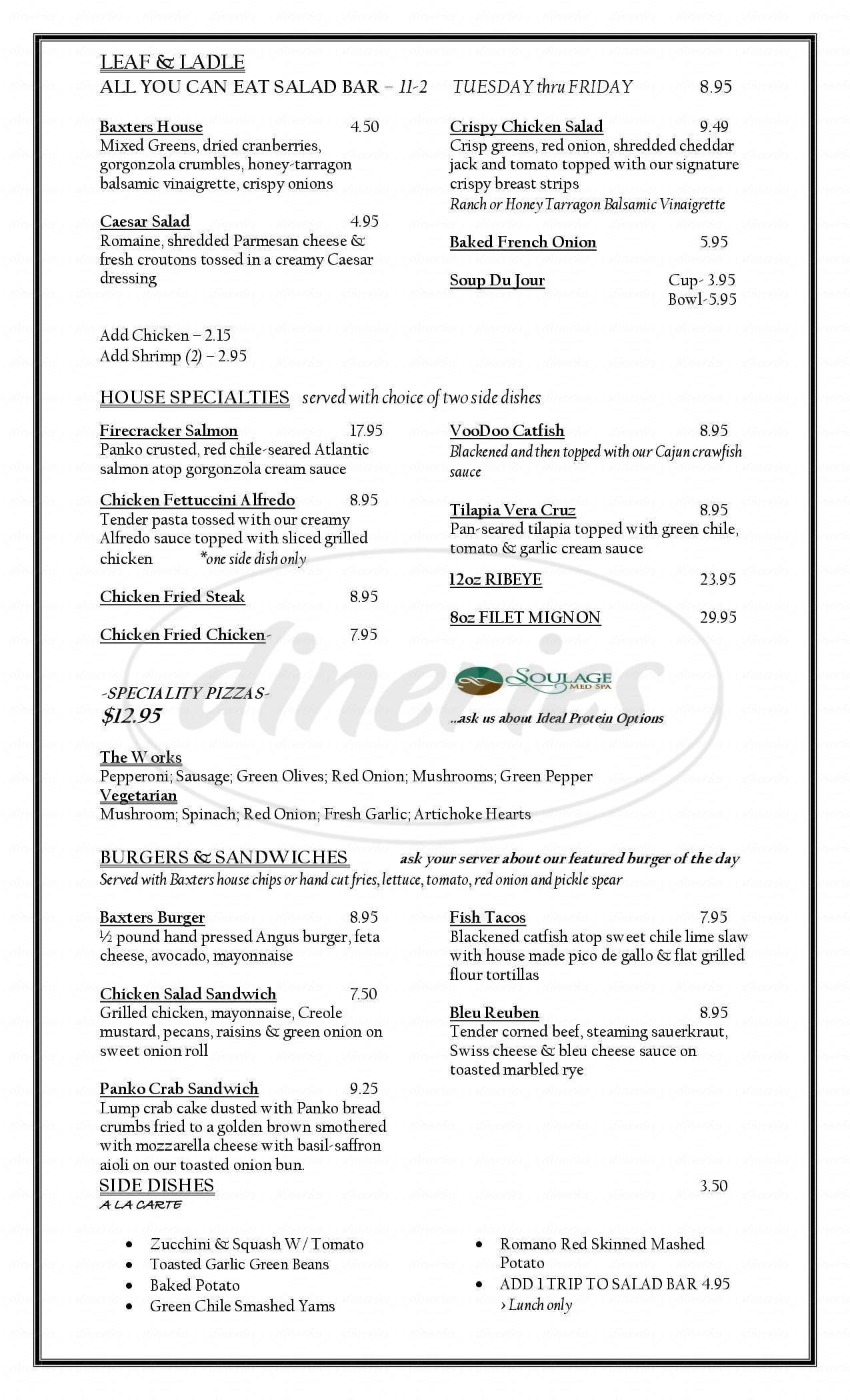 menu for Baxters On Main