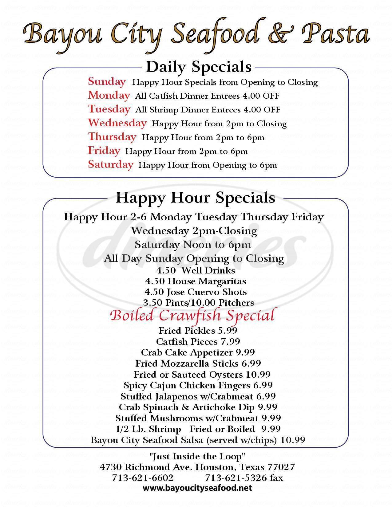 menu for Bayou City Seafood and Pasta