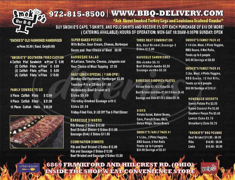 menu for Smokie's Bar B-Q