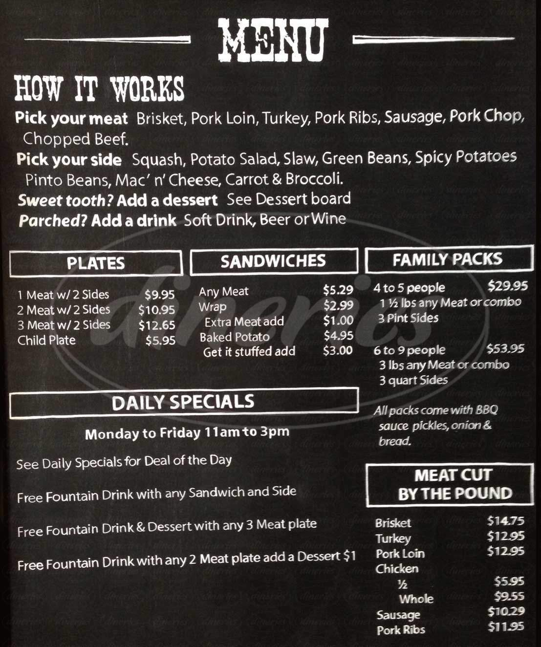 menu for Chisholm Trail Icehouse & BBQ