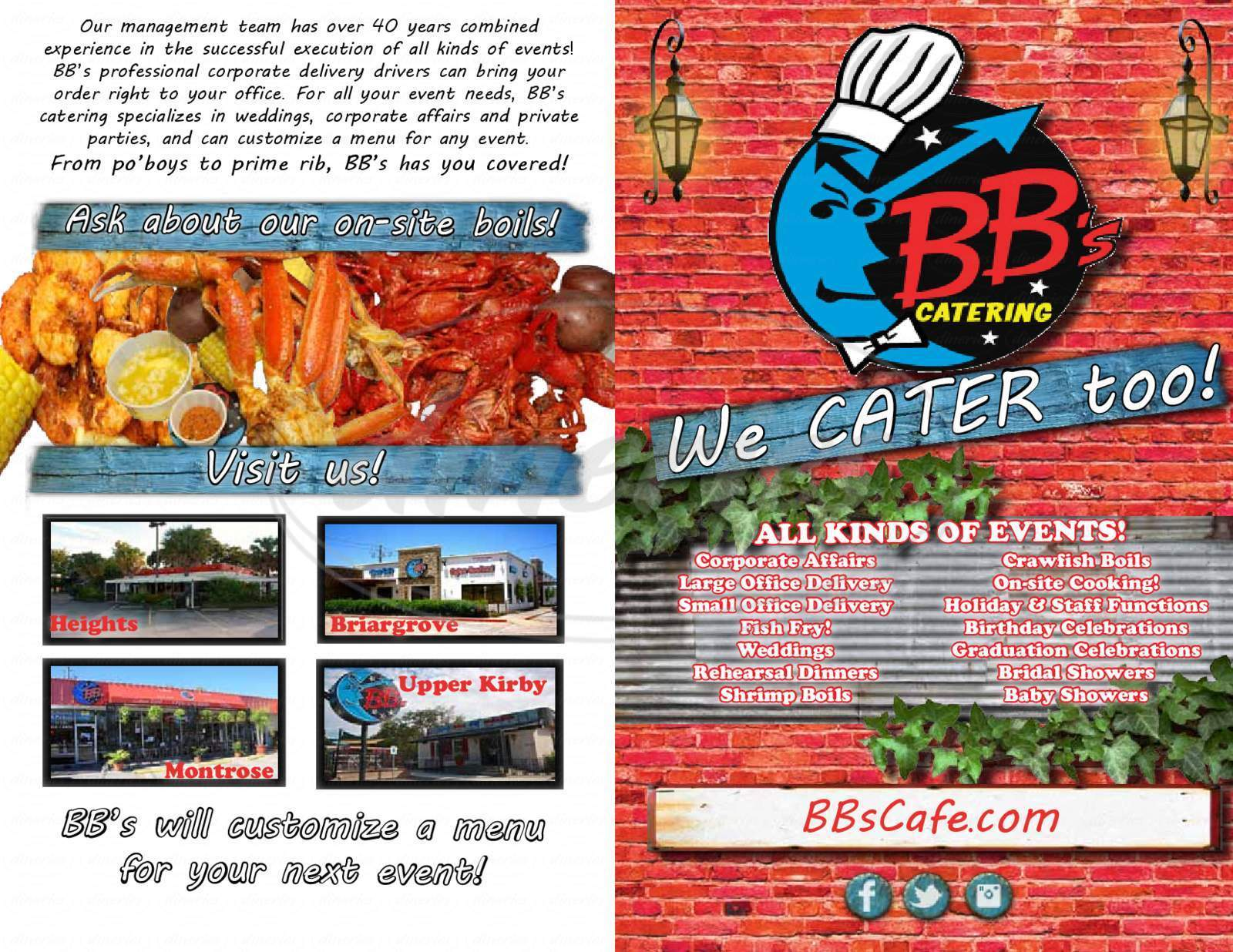 menu for BB's Cafe