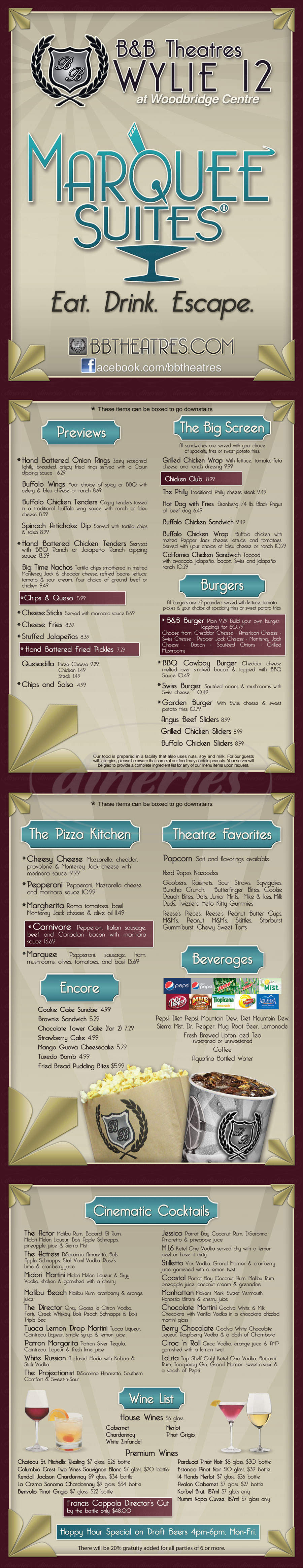 menu for B&B Theatres Wylie 12