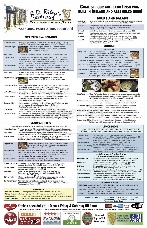 menu for BD Riley's Irish Pub