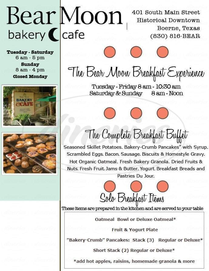 menu for Bear Moon Bakery