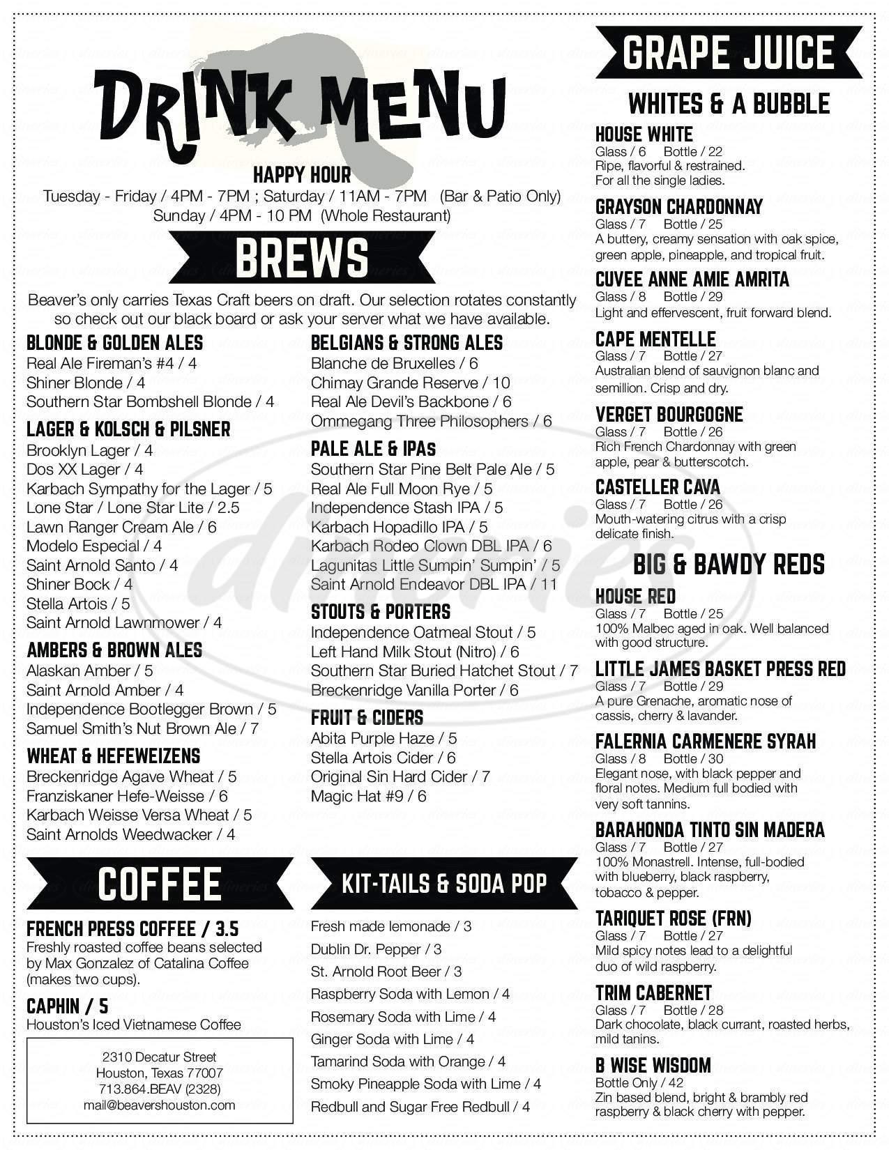 menu for Beaver's