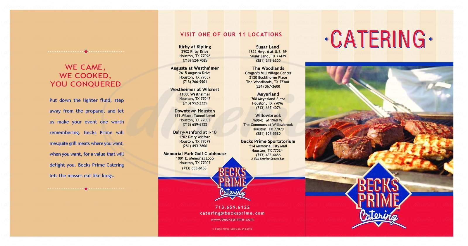 menu for Becks Prime Sportatorium