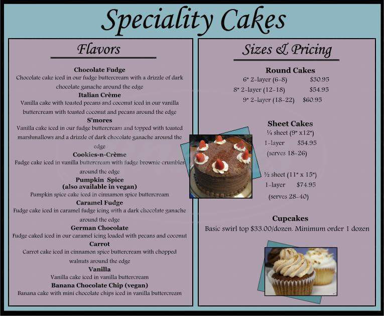 menu for Bee's Knees Bakeshop