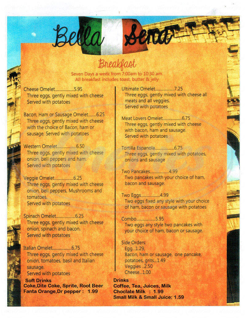menu for Bella Sera