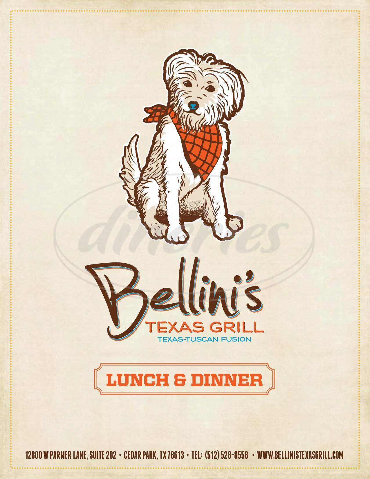 menu for Bellini's Texas Grill