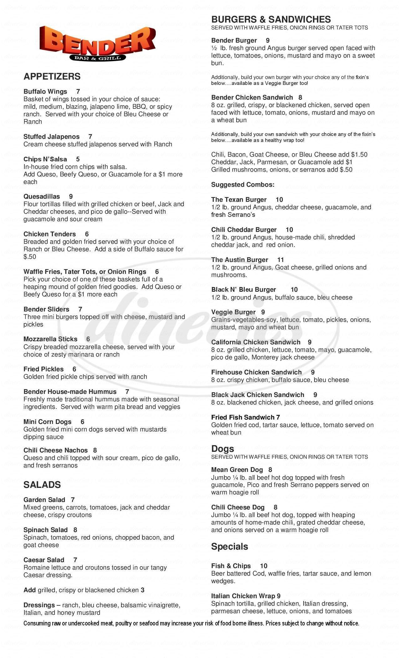 menu for Bender Bar & Grill