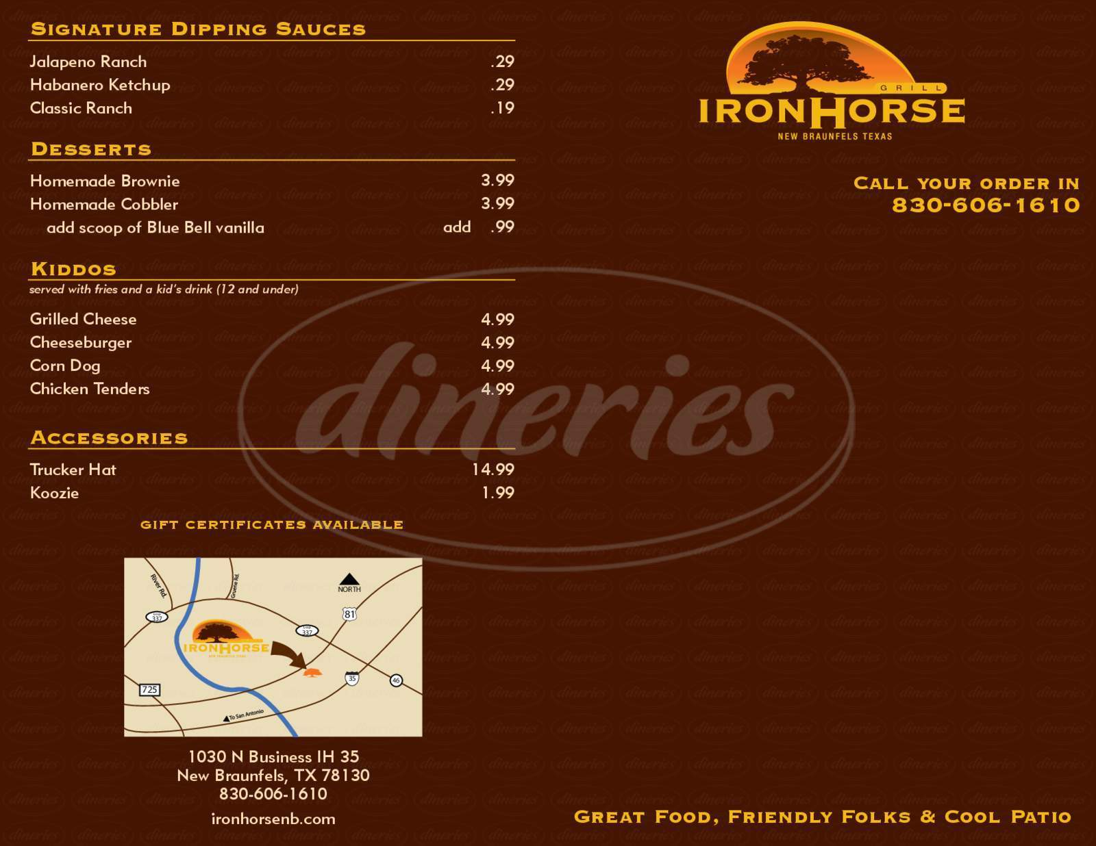 menu for Iron Horse Saloon & Grill