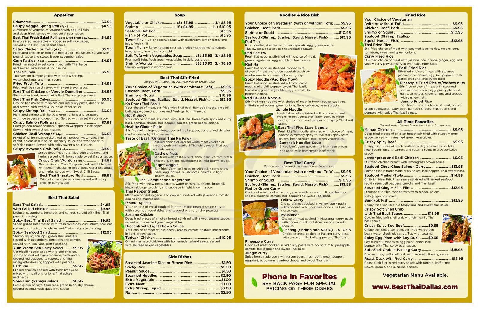 menu for Best Thai Signature