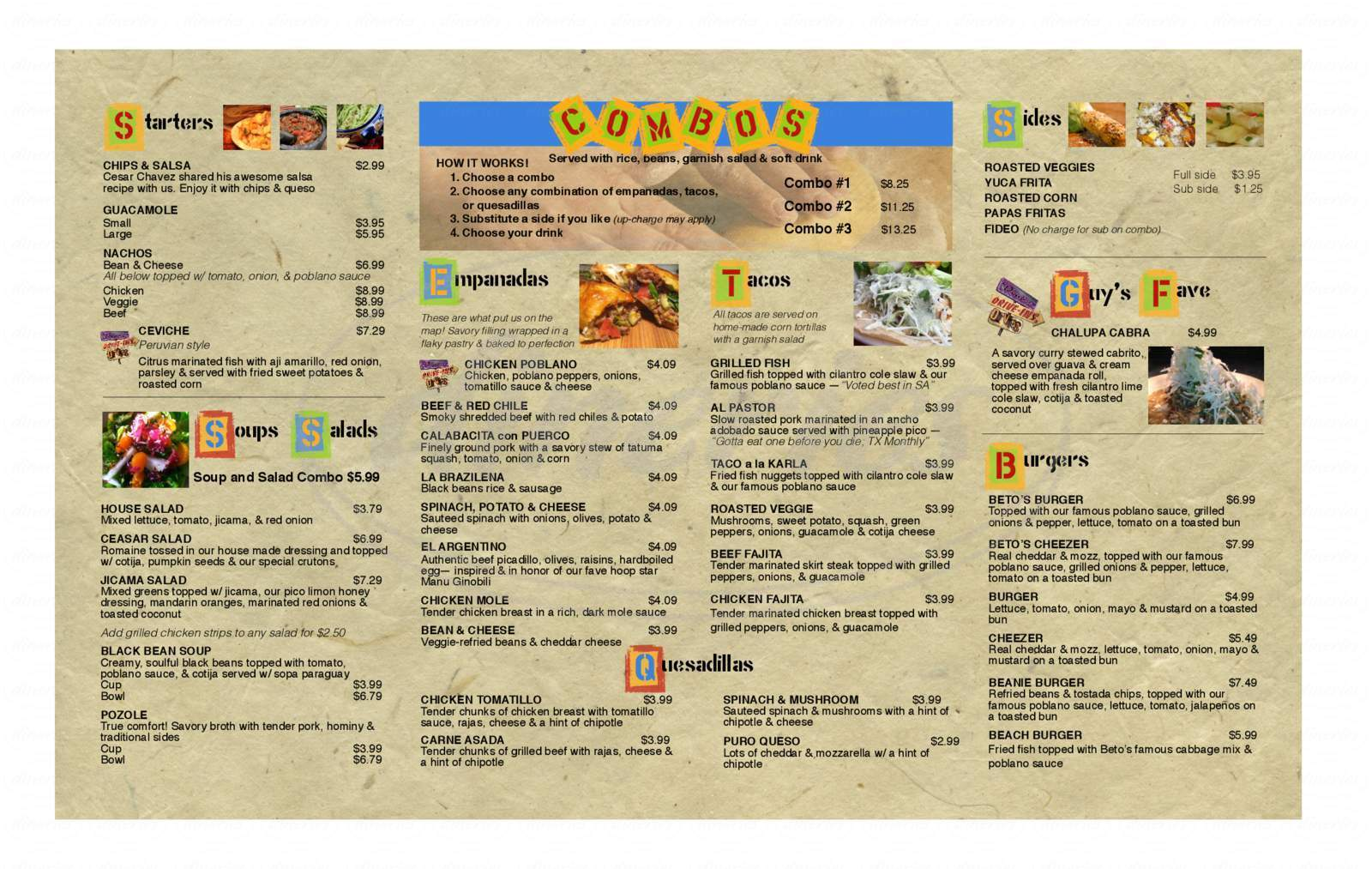 menu for Beto's Comida Latina
