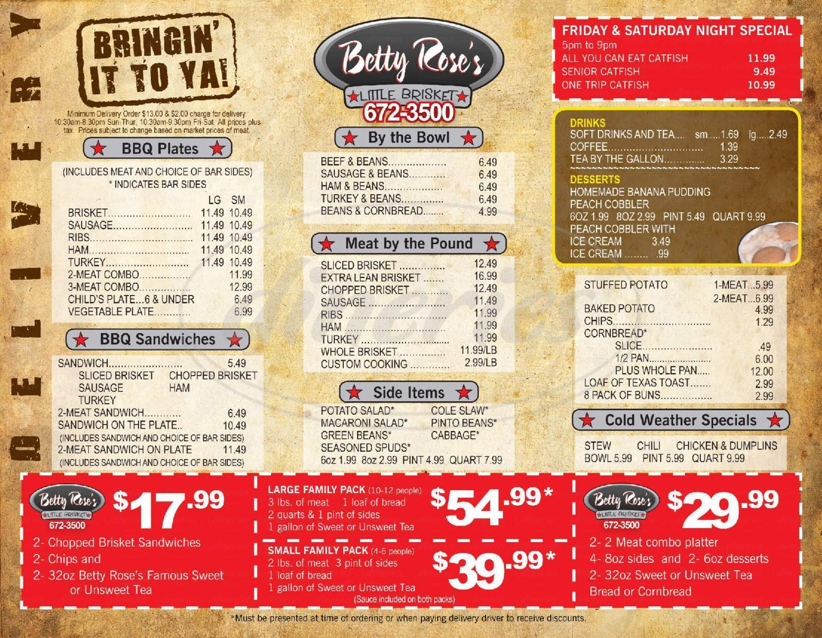 menu for Betty Rose's Little Brisket