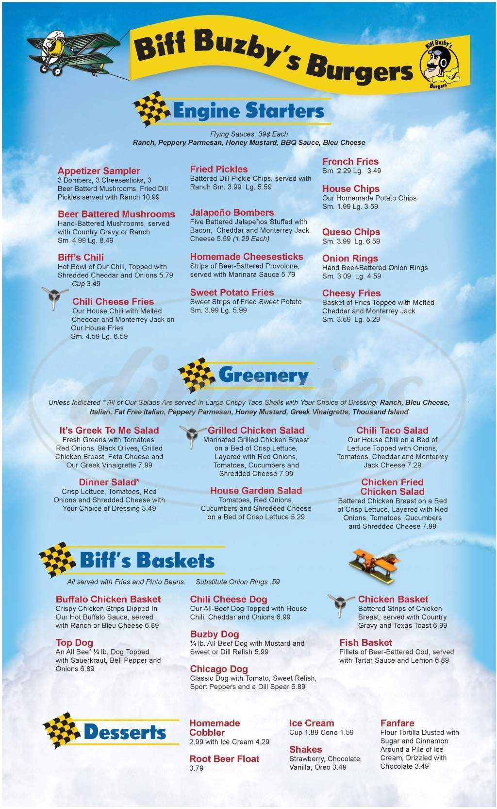 menu for Biff Buzby's Burgers