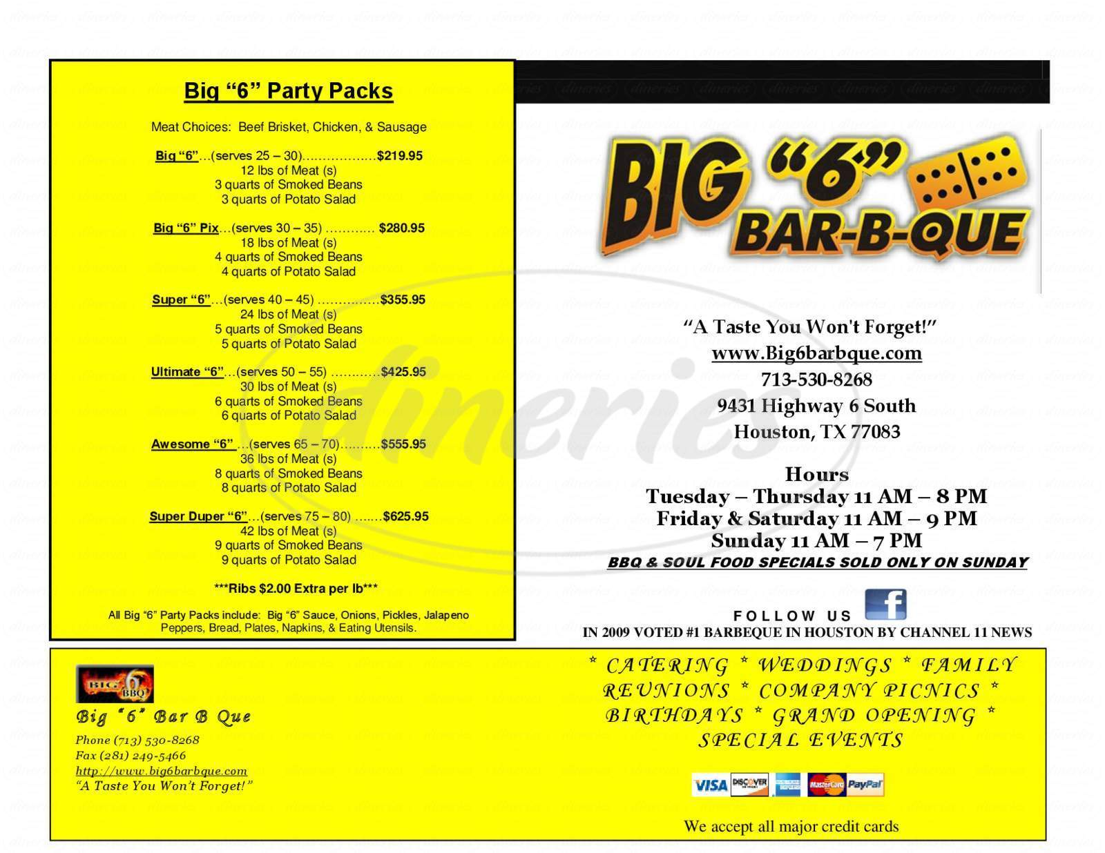 menu for Big 6 Bar B Que