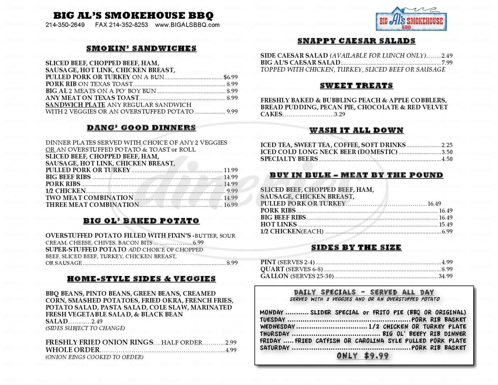 menu for Big Al's Smokehouse Barbeque
