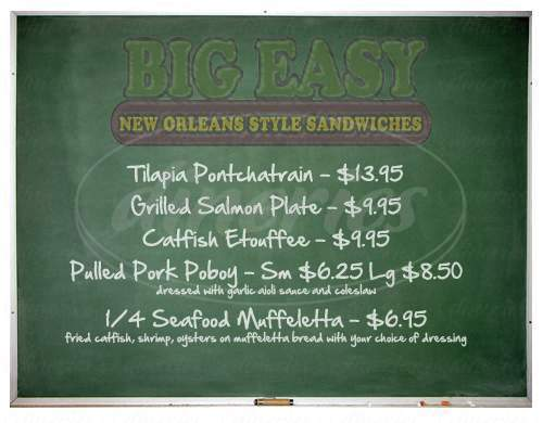 menu for Big Easy New Orleans Style Sandwiches