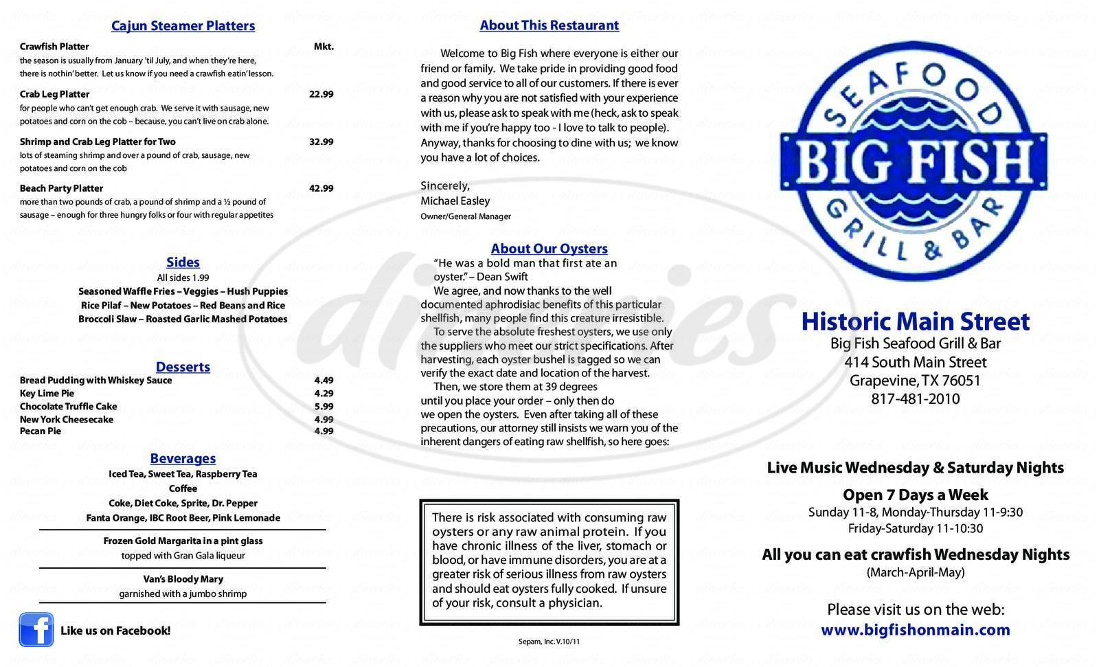 menu for Big Fish Seafood Grill & Bar