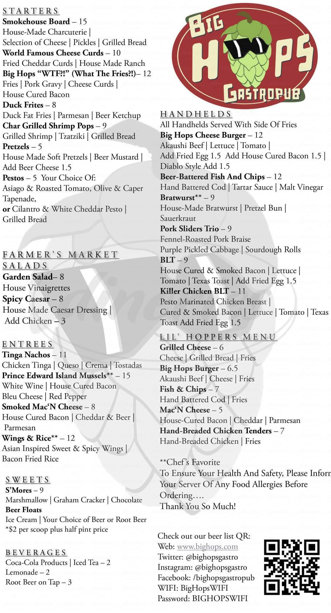 menu for Big Hops Gastropub